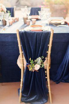 graceful navy blue fabric wedding chair decor ideas