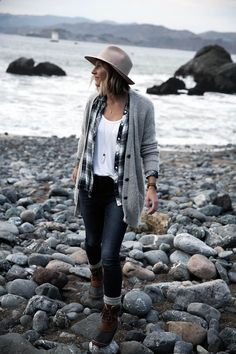 grey sweater with plaid shirt, old navy jeans, and sorel boots with socks, womens fashion, casual outfit for outdoors hiking