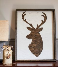 Dark stain framed deer head home decor. Reid Lane hand made home decor.