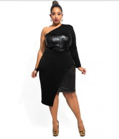 f1dd992d1ac6 Curvy One Shoulder Carmen Dress Vêtements Grande Taille, Jupe Cuir, Mode  Femme, Robe