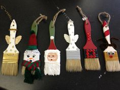 Hand painted paint brush ornaments