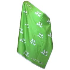 Andre Courreges Cotton Sateen Logo Scarf in lime green and white. x Excellent condition. Due to the unique nature of the item, all sales are final. Vintage Scarf, How To Draw Hands, Scarves, Fashion Accessories, Logos, Cotton, Hand Drawn, Lime, France