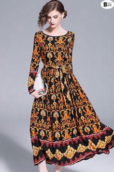 Vintage O-Neck Long Sleeve Print Maxi Dress US  63.99 f61c611ec