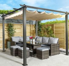 Make the most of your outdoor space with a gazebo with slide-away sun shade from Monaco. pergola Monaco Metal Gazebo Pergola and Slide Away Sun Shade Garden Gazebo, Backyard Pergola, Pergola Shade, Backyard Landscaping, Corner Pergola, Pergola Canopy, Shade For Patio, Corner Patio Ideas, Hot Tub Pergola