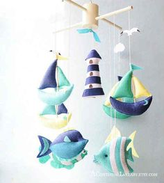 Boats Fish Lighthouse Baby Mobile, Nautical Mobile, Boat Cloud Light House Tropical Fish, Baby Boy N - Etsy Boy Mobile, Baby Mobile Felt, Baby Crib Mobile, Felt Baby, Baby Nursery Diy, Baby Boy Nurseries, Diy Baby, Baby Crafts, Felt Crafts