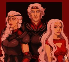 """naomi-makes-art: """" This is an alternate version of Aegon, Visenya and Rhaenys. (I touched up some things, made Aegon more serious, gave Visenya a couple scars, and put some eyeliner on Rhaenys) """" The Dragon Has Three Heads by Naomi Buttelo"""