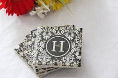 monogram napkin coasters