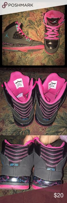 Youth Jordans These are in EUC! They are black patten leather, with pink and blue in them. My middle daughter just hit another foot growth spurt and now I have to sell her favorite pair of Js. Jordan Shoes Sneakers