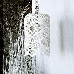 Carved White Porcelain Pendant Lamp from Isabelle Abramson, $525.00