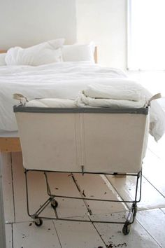 industrial laundry baskets -- info on different manufacturers in the comments section of this apartment therapy article