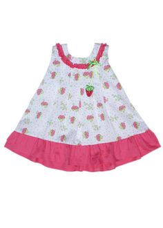 Pink Strawberry dress 18m with bloomers