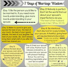 7 days of happy marriage wisdom. It is great advice!
