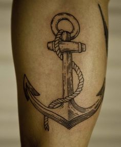 elegant beautiful simple anchor tattoo to view Methodological shin
