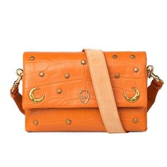 Leowulff 'Moon' orange croco embossed leather bag with brass moons and stars hardware details.