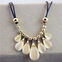 2015 Popular del gran cadena de clavícula collar de la mujer del banquete delicado de la joyería Retro ópalo collar corto