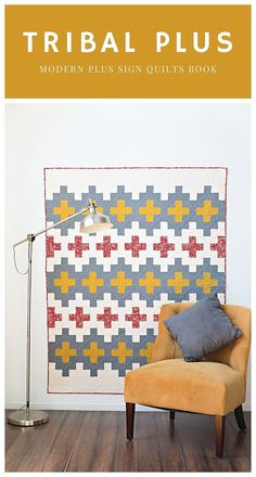 Tribal Plus from the Modern Plus Sign Quilt book. Lap size, modern plus sign design. #meadowmistdesigns #tribalplusquilt #modernquilt #plussignquilt Quilting Ideas, Quilting Projects, Quilt Patterns, Southwestern Quilts, Plus Quilt, Quilt Modern, Traditional Quilts, Book Quilt, Vintage Quilts