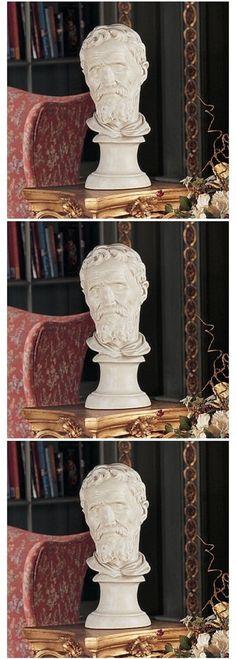 """Italian Renaissance Michelangelo Buonarroti 11/"""" Iron Cast Bust On Marble Base"""