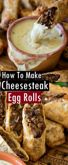 How To Make Cheesesteak Egg Rolls - best recipes 67 Pork Egg Rolls, Chicken Egg Rolls, Chicken Spring Rolls, Egg Roll Recipes, Steak Recipes, Easy Recipes, Cheesesteak Egg Rolls, Appetizer Recipes, Appetizers