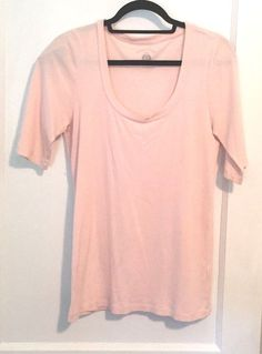 J Crew Pink T shirt Size XL Short Sleeves Stretch Cotton Longer Length Summer T #JCrew #KnitTop #Casual