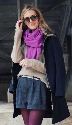 purple scarf with neutrals