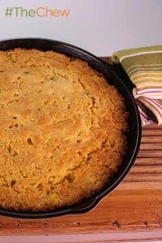 Skillet Cornbread with Maple Syrup and Chipotle Crema by Mario Batali - serve up the easy-to-make dish at your next tailgate party!