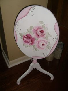 Shabby & Chic Cottage Tilt Top Table HP Roses-shabby,chic,cottage,roses,hp roses,hand painted,vintage,table,decor,furnishings,furniture,pink,tole,