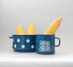 Vintage YUGOSLAVIAN blue enamel mug //  EMO Celje by Yugovicheva