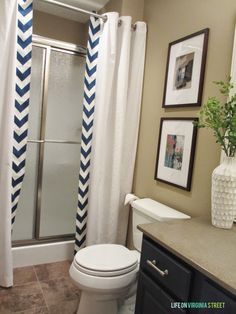 Guest Bathroom No Sew Shower Curtain Tutorial