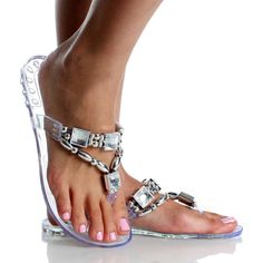 Clear Jelly Jeweled Beaded Embellished Flip Flop Sandal Womens Shoes $6.99