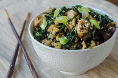 Kale & Shiitake Fried Brown Rice  adapted from My Father's Daughter, via Erin's Food Files