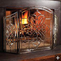 victoria beveled glass fireplace screen glass fireplace screen rh pinterest com beveled leaded glass fireplace screen beveled glass fireplace screens