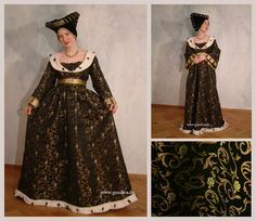 This Burgundian medieval era dress has a pomegranate motif. The neckline and hem are trimmed with ermine. Beautiful!