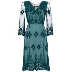 Claudia Long Sleeve Dress In Teal Lace - women's sale