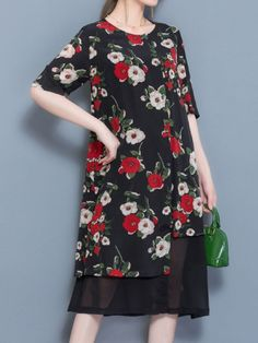 Floral dress 8 elegant women floral printed fake two pieces half sleeve dresses #2 #piece #floral #prom #dresses #big #w #floral #dresses #floral #dresses #images #sims #3 #floral #dresses