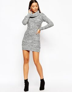 Image 4 ofMichelle Keegan Loves Lipsy Knitted Roll Neck Bodycon Dress