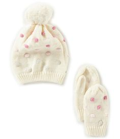 d07b260d434 Shop for Starting Out Baby Girls Faux Fur Pom Polka Dot Hat  amp  Mittens  Set