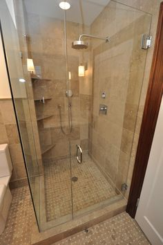 Corner shower ideas for small bathroom. This would be awesome for our future Master bathroom