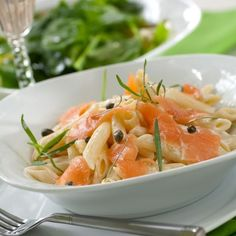 """Pasta with smoked salmon & capers from """"Epicurious"""" Seafood Dishes, Pasta Dishes, Seafood Recipes, Cooking Recipes, Pasta Recipe Capers, Smoked Salmon Pasta Recipes, Pasta With Smoked Salmon, Salmon With Cream Sauce, Salmon Capers"""