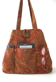 red handbag shoulder bag red tote bag converts to hobo bag paisley fabric