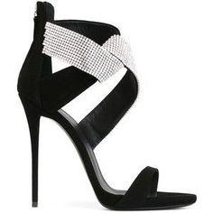 Giuseppe Zanotti Design sandales à brides strassées Black Strappy Shoes, Strappy Sandals Heels, Black Leather Sandals, Black Stilettos, Strap Sandals, Black Sandals, Black Suede, Shoes Heels, Cute Shoes