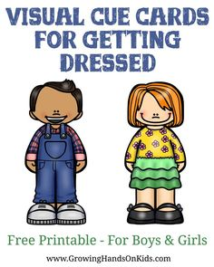 Visual cue cards for getting dressed, free printable for kids!