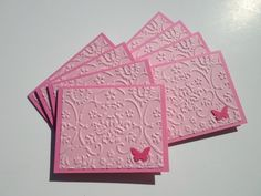 Set of 8 Pink Embossed Butterfly Mini Cards with by debkcreations, $3.50