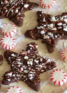 Chocolate- Peppermint Star Cookies #Christmas #recipe