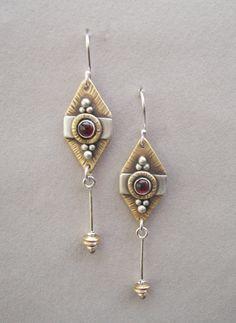 Tribal sterling silver, brass and garnet earrings: Bali-inspired, silver, brass, and garnet tribal earrings