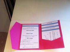 Apprenez à réaliser vous-même un faire-part unique et très pratique sous forme de pochette où glisser tous vos cartons d'invitation !
