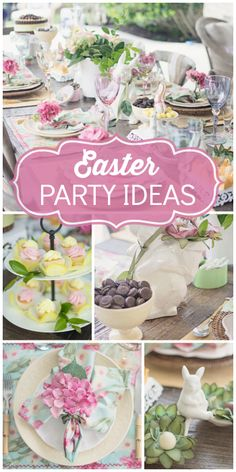 What a gorgeous blooming Easter party with a beautiful table!  See more party ideas at CatchMyParty.com!