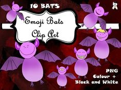 I had so much fun creating this product and I thing I managed to give each bat its own personality. Possible uses: - discuss the different moods of the bats;- let students choose a bat according to their own mood and colour it;- as your own clip art, for future amazing materialsIn the folder you just purchased you shall find:-10 coloured Emoji Bats;-10 Black and White Emoji BatsCheck out my other Halloween Products:  hereFull Halloween Pack here : Halloween Clip Art  Editable Spinner Game…