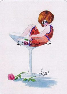 SD91 Sexy Lady Swap Playing Cards Mint Cond ART Deco Style IN Champagne Glass | eBay