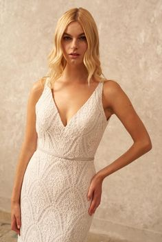 V Neck Lace Wedding Dress Boho Wedding Dress Low Back | Etsy