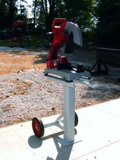 Chop Saw Stand - WeldingWeb ,Welding forum for pros and enthusiasts Welding Cart, Welding Shop, Diy Welding, Welding Table, Metal Welding, Welding Rigs, Metal Tools, Metal Projects, Welding Projects